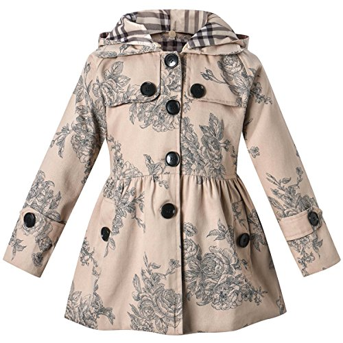 Long Sleeves Vintage Floral Print Chino Cotton Hooded Hoodie Trench Coat Outerwear Windbreaker for Little Girls & Big Girls, Flower Khaki, 9-10 Years=Tag 150