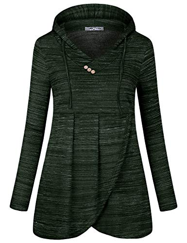 Pleated Empire Sweater - SeSe Code Ladies Hoodies,Pullover Sweatshirts for Women Long Sleeve T Shirt Lightweight Tunic Top Vintage Office Casual Fall Outfit Space Dye Dark Green Medium