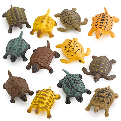 (Kicko Small Turtle Baby Bath Toys - 12 Pieces of Assorted Plastic Tortoises - Ponds and Aquarium Decorations, Indoor and Outdoor Accents, Kids Pet Collection, Party Favors)