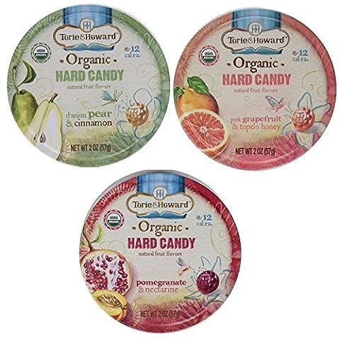 Torie & Howard Organic Hard Candy 3 Flavor Variety Bundle: (1) Pomegranate & Nectarine, (1) Pink Grapefruit & Tupelo Honey, and (1) D'anjou Pear & Cinnamon, 2 Oz. - Honey Nectarine