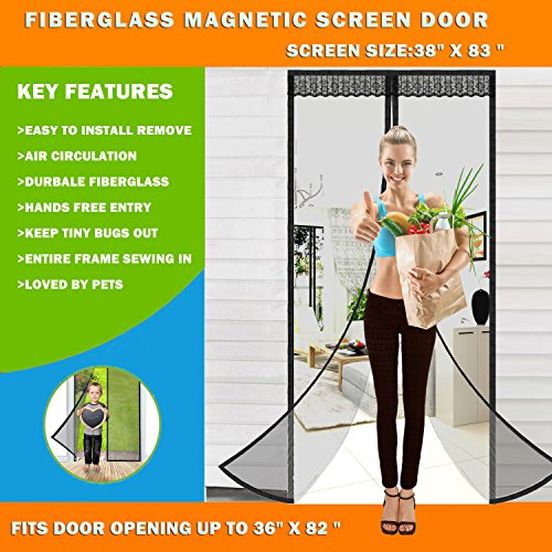 Magnetic Screen Door Easy Install Screen Door Magnetic Insect Screen for Fiberglass Pet Friendly Anti Bug Insect Mosquito Magnetic Mesh Mosquitoes Door Screen (Magnetic Screen DoorBlack)
