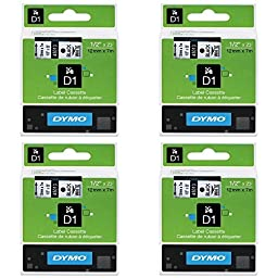 DYM45013 - Dymo Black on White D1 Label Tape, pack of 4
