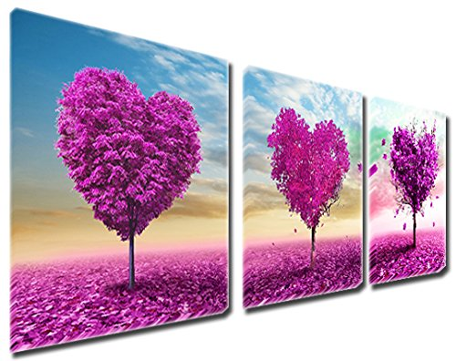 3 Pics Romantic Red Pink Heart Shaped Trees Love Sweetheart Wall Art Decor Abstract Paintings on Canvas Stretched and Framed Ready to Hang ()