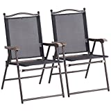2PCS Black Patio Folding Foldable Sling Back Lounge Chairs Durable Sturdy Steel Tubes Frame Textile Fabric Material Outdoor Garden Camping Picnic Deck Backyard Beach Pool Side Use Lightweight Design