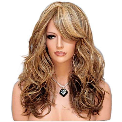 XJRHB Wig, Highlighting Brown, Large Waves, Long Curly Hair (Brown Wig Siren)