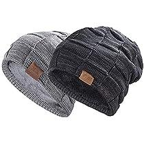 Knit Beanie Skull Hat ,caps men,- Soft Fleece Lined Slouchy Winter Cap by W.L (Blanck1)
