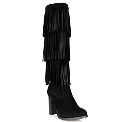 7c5b6f4f6b1d3 Mark & Muddux Black Suede Knee high Chunky Heel Boots with Fringes Women's  Shoes
