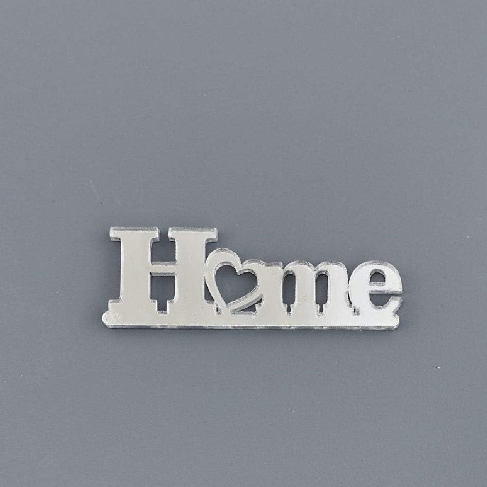12X SCRITTA HOME in plexiglass ARGENTO 4.5X2 cm DECORAZIONE BOMBONIERA