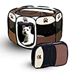 8 Panel Portable Foldable Puppy Dog Pet Cat Playpen Crate Cage Kennel Tent Play Pen (M)