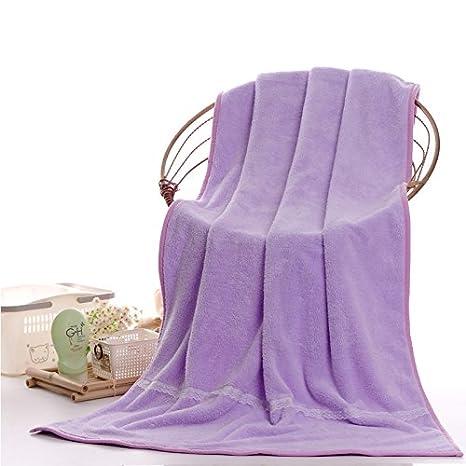 Dreamingces-Toallas De Baño Color Sólido Encajes Púrpura 80*150Cm Ultra Suave Y Absorbente