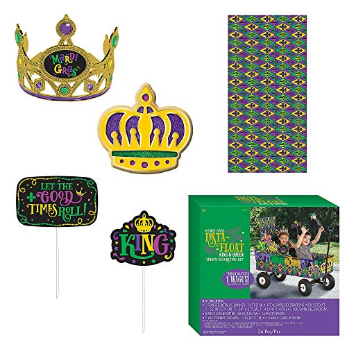 Amscan King & Queen Mardi Gras Float Kit, Wagon Decorating Kit, 26 Pieces, Includes Banner and More