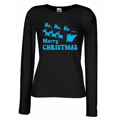lepni.me Weibliche langen Ärmeln T-Shirt Weihnachtsgeschenke ideen  Weihnachten Kleidung (Small Schwarz