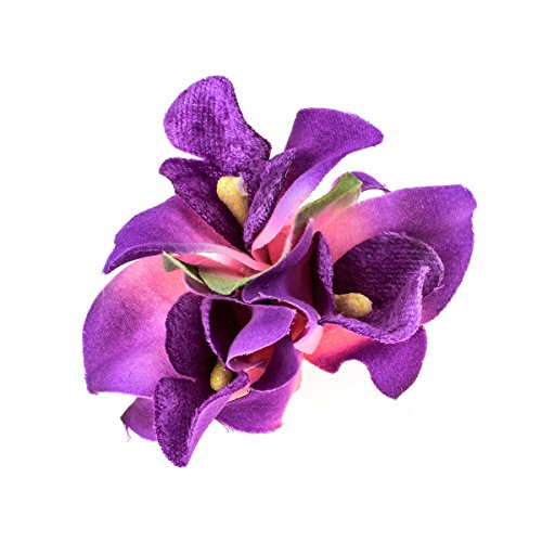 June Bloomy Hawaiian Orchid Hair Clips Flower Brooch Party Hair Pin (Purple) Girl Hawaiian Pin
