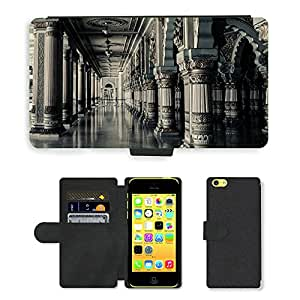 PU Cuir Flip Etui Portefeuille Coque Case Cover véritable Leather Housse Couvrir Couverture Fermeture Magnetique Silicone Support Carte Slots Protection Shell // M00289820 Las columnas interiores Arquitectura // Apple iPhone 5C