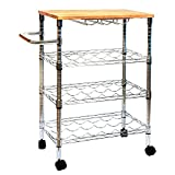3-Teir 18-Bottle Metal Wine Cart with Rubber Wood Top in Chrome with Adjustable Shelves