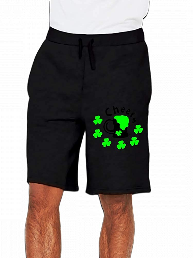 Cheers Green Beer Shamrock St.Patricks Day Mens Casual Short Trouser