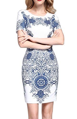 透過性乱闘エッセンス上品 半袖 スリム プリント ワンピース 大きいサイズあり 大人 お呼ばれ 結婚式  二次会 発表会 ドレス ワンピースA0177