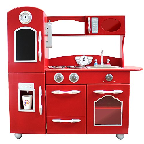 - My Little Chef Teamson Kids Wooden Play Kitchen Set (1 Piece), Red, One Size