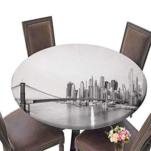 PINAFORE The Round Table New York City Skyline with Brooklyn Bridge and Lower Manhattan View in Early morningsun Light for Birthday Party, Graduation Party 35.5