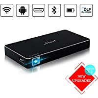 NEW1 Projector, Mini Portable Pocket Projector with 120 inch Display - HD Mobile Pico Video Projector for iPhone Laptop Support 1080P Bluetooth HDMI USB TF Card – Include Warranty