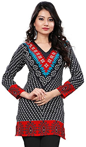 Womens India Tunic Top Kurti Printed Blouse Indian Clothing – S…Bust 34 inches, Black