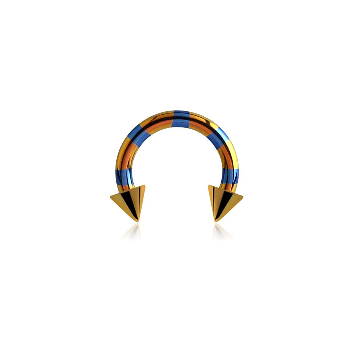 Bubble Body Jewelry Titanium Two Tone Circular Barbell With Cones 1.2mm Gauge 16g