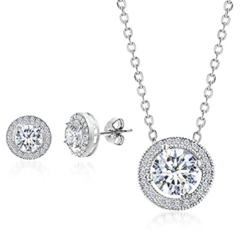 Mia Sarine Rhodium Plated Silver Cubic Zirconia Round Halo Earring and Pendant Set - Cubic Zirconia Pendant Jewelry