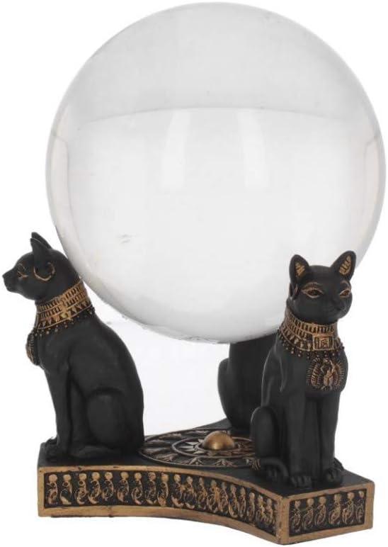 Resina Nero 12,7 cm Nemesis Now Bastets Crystal Ball Holder 12.7cm Bastet Honour-Porta Sfera di Cristallo Taglia Unica