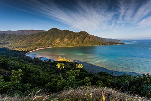 Aerial view of Kahana Bay as seen from the Crouching Lion hiking trail in Kaaawa, Oahu, Hawaii print picture photo photograph fine art by Mike Krzywonski Photography