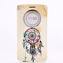 LG G3 Case, GOODTONY [Quick Circle Window] [Slim Fit] Premium [Cartoon Cute Printing] PU Leather Ultra Slim Flip Smart Cover for LG G3 (smile face) (Catcher)
