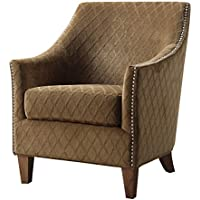 Emerald Home Kismet Wembley Pecan Accent Chair with Diamond Pattern Fabric And Nailhead Trim