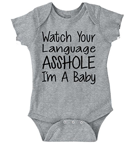 Screen Print Onesie - Brisco Brands Watch Language Asshole Funny Shirt | Cute Baby Clothes Cool Romper Bodysuit