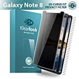 Klearlook Unique [Privacy Defender], Galaxy Note 8 Screen Protector, Privacy Anti Spy Tempered Glass + 1 Piece Back Carbon Fiber Skin For Samsung Galaxy Note 8 [Front and Back]