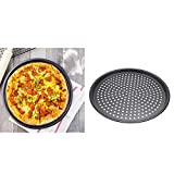 BESTOMZ 12-inch Nonstick Pizza Pan Baking Tray Plate with Holes Pizza Baking Tool