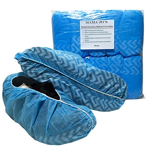 Mama Jo's Large Disposable Shoe Covers - Fits Size 5 - 12 Shoes or Boots - Medical Shoe and Work Boot Covers for Home or Work - Non Skid Hand - Jo Large