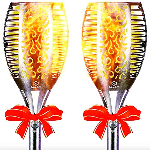 GetherDirect Solar Torch Lights – Waterproof Solar Tiki Torches Outdoor Flickering Flame Lights Quality LED Landscape Lighting Lights Outdoor Garden, Yard, Lawn, Pathway, Driveway (2 Pack). ()