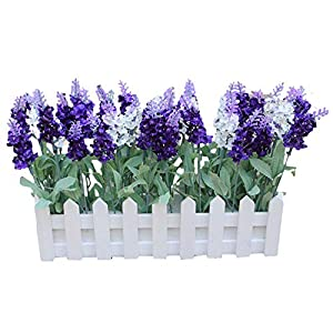 MARJON FlowersArtificial Silk Flowers Fake Purple Lavender in Picket Fence Pot Pack 79