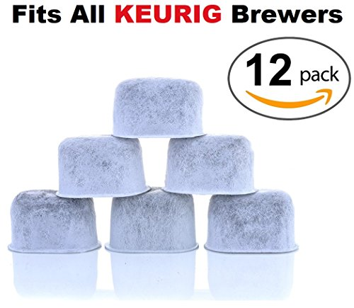 12-Pack KEURIG Compatible Water Filters by K&J – Universal Fit (NOT CUISINART) Keurig Compatible Filters – Replacement Charcoal Water Filters for Keurig 2.0 (and older) Coffee Machines