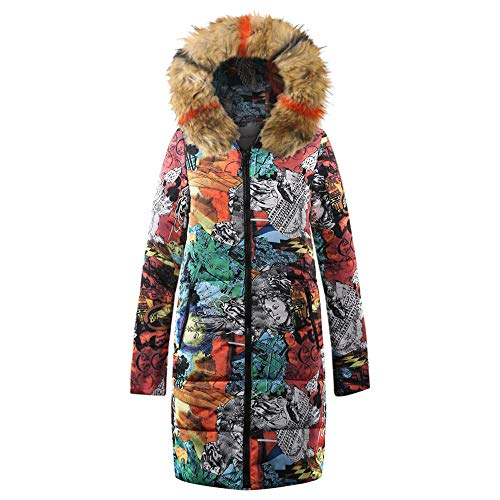 vermers Womens Winter Long Down Parka Hooded Coat, Ladies Fashion Printed Zipper Quilted Jacket Outwear(US:2-4/S, Khaki)