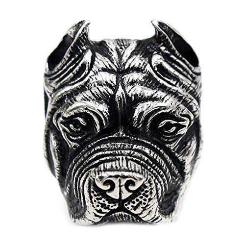 Bull Terrier Ring - Mens Stainless Steel Biker Ring High Polised Punk American Pit Bull Terrier Ring Silver Tone 13