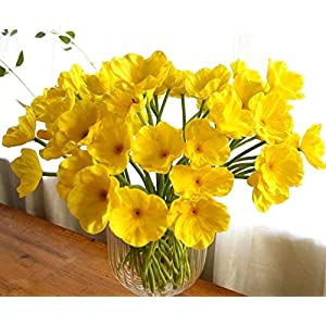 10 PCS new arrivals high quaulity Fresh Artificial Mini Real Touch PU/ latex Corn Poppies Decorative Silk fake artificial poppy flowers for Wedding holiday Bridal Bouquet Home Party Decor bridesmaid bouquets (yellow) 4