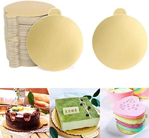 100pcs//Set Round Mousse Cake Boards Gold Paper Cupcake Dessert Displays Tray Wedding Birthday Cake Pastry Decorative Tools Kit