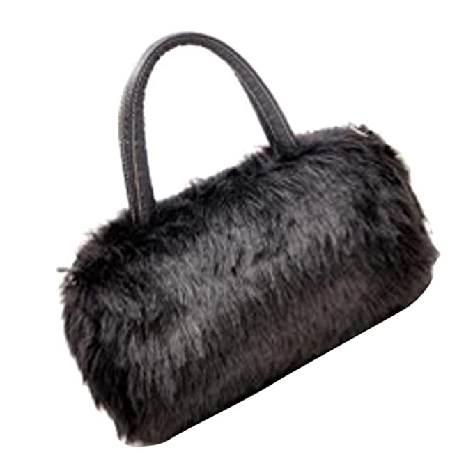 a0e223f1e Winter Handbag Fluffy Crossbody Shoulder Bag Purse Messenger For Women  Girls (Black)