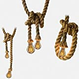 wsloftyGYd Creative Thick Hemp Rope for Droplight Vintage Double Connectors Pendant Lamp Cord