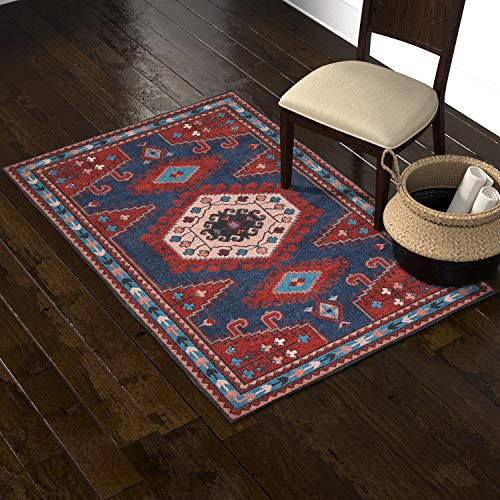 Stone & Beam Modern Persian Area Rug, 4 x 6 Foot, Blue and Red Multicolor