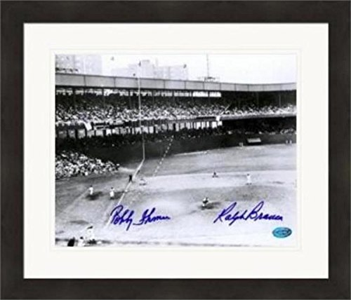 Ralph Branca & Bobby Thomson autographed photo 8x10 B&W (The Shot Heard Round The World) Matted & Framed