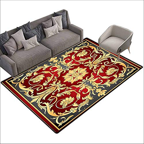 Turkish Filigree - Door Rug for Internal Anti-Slip Rug Turkish Pattern Ottoman Spiral Foliage Pattern Frame Filigree Style Royal and Retro Easy to Clean W6'7 x L9'10 Ruby Mustard Black
