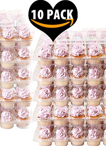 (10 Pack) FillnGo Carrier Holds 24 Standard Cupcakes - Ultra Sturdy Cupcake Boxes | Tall Dome Detachable Lid | Clear Plastic Disposable Containers | Storage Tray | Travel Holder |Also Regular Muffins
