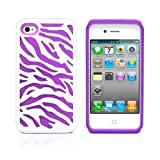 iPhone 4S Case, MagicMobile® Hybrid Armor Ultra Protective Case for iPhone 4 / 4S Cute [Zebra Pattern] Design Hard Plastic Shockproof Rubber Impact Resistant iPhone 4S Defender Cover - White / Purple