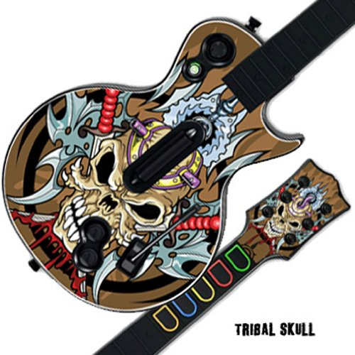 Mightyskins Protective Skin Decal Cover Sticker Compatible with Guitar Hero 3 III PS3 Xbox 360 Les Paul - Tribal Skull